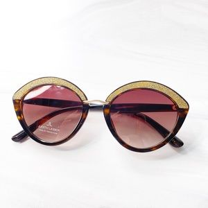 NEW Judith Leiber Jasmine Gold Crystal Sunglasses